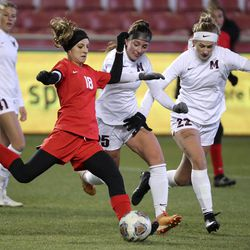 Morgan plays Manti in the 3A girls soccer championship game at Rio Tinto Stadium in Sandy on Monday, Oct. 26, 2020. Morgan won 3-1.
