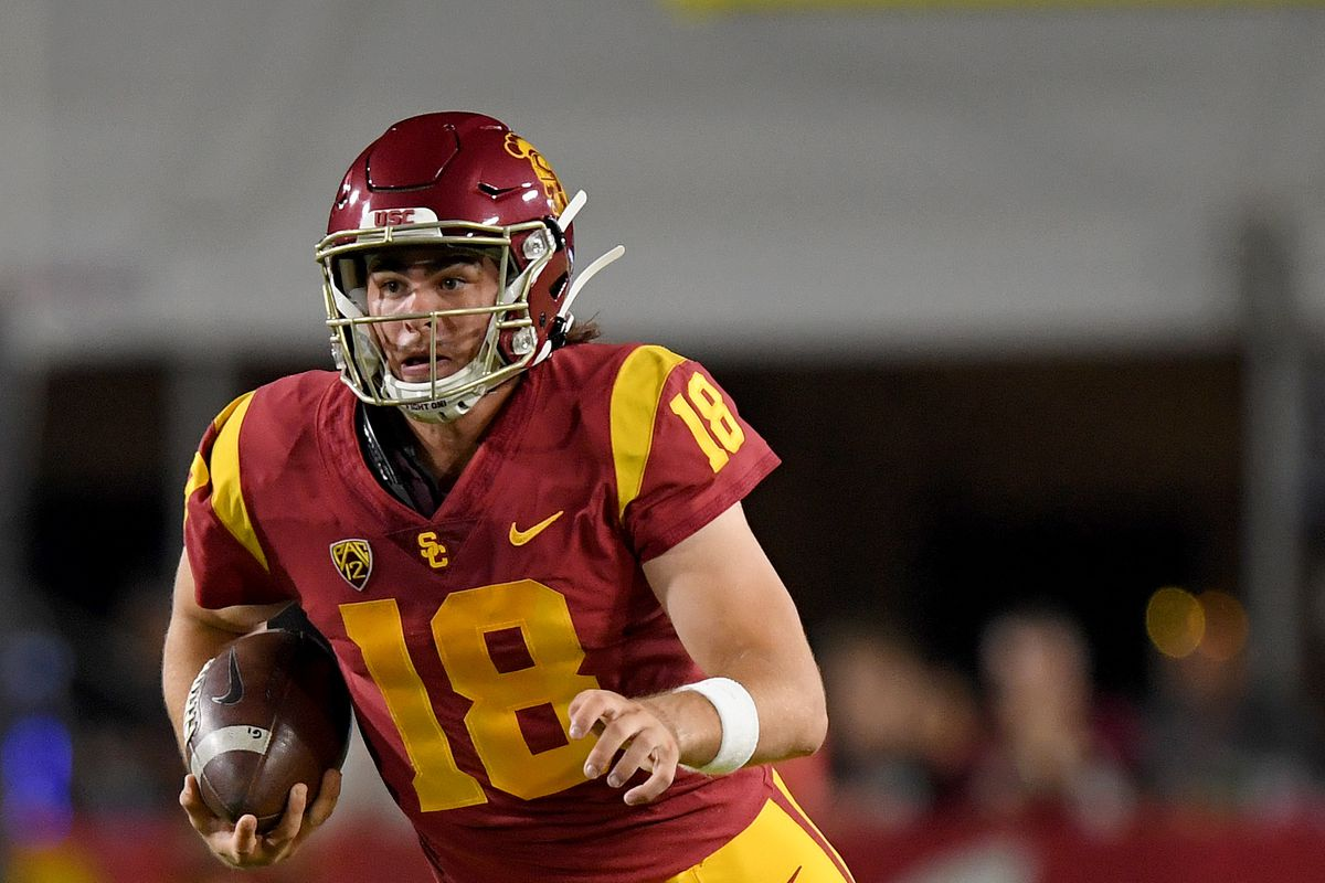 JT Daniels of the USC Trojans runs out of the pocket during the game against the Fresno State Bulldogs at Los Angeles Memorial Coliseum on August 31, 2019 in Los Angeles, California. Daniels is expected to start for Georgia on Saturday.