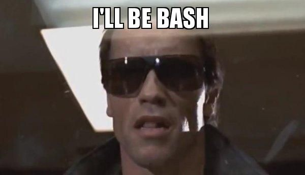 """a meme of the terminator with """"I'll be bash"""" as the caption"""
