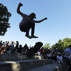 Conor Thomas and others skates as skateboarders protest at Liberty Park during an event called Skate for Solidarity in Salt Lake City on Thursday, June 11, 2020. The protesters joined others across the nation to decry racism and police brutality after the death of George Floyd, a black man who died while being taken into custody by police in Minneapolis.