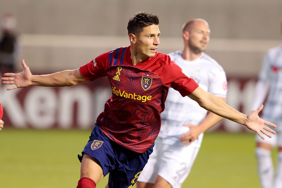 Real Salt Lake midfielder Damir Kreilach (8) celebrates a goal as Real Salt Lake and Los Angeles FCplay an MLS game at Rio Tinto Stadium in Sandy on Wednesday, Sept. 9, 2020.