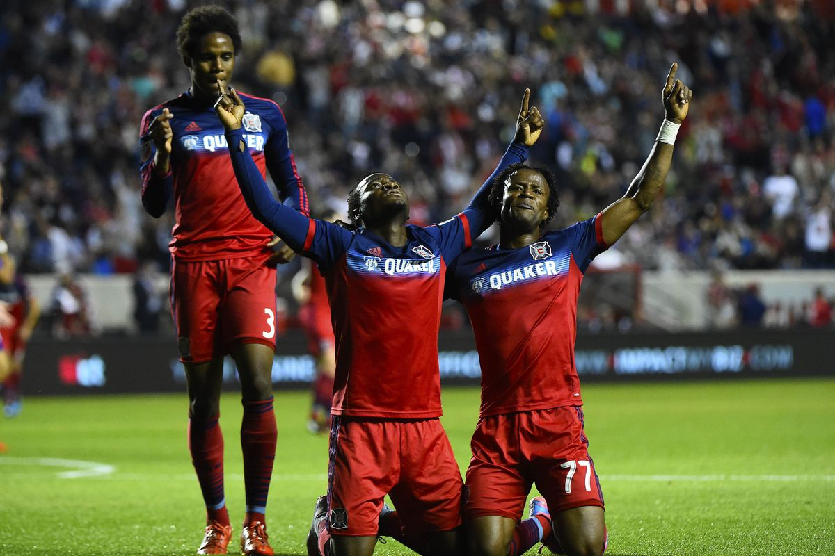 Everyone celebrates David Accam's goal in the 57th. Cheerful thought: Two of these three guys (Accam, center, and Joevin Jones, left) won't be available next week due to international call-ups.