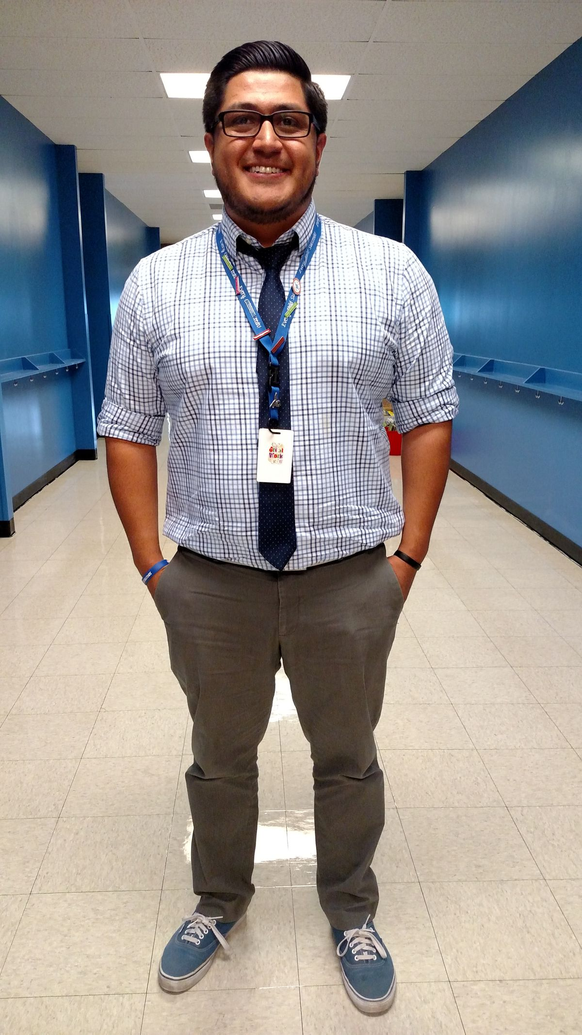 New Trevista principal Jesus Rodriguez lives five minutes from the school and often runs into families at Safeway or a local pizza place (photo by Eric Gorski).