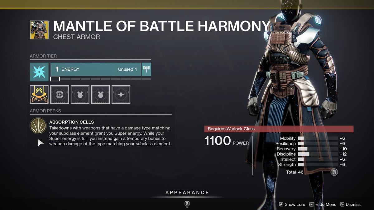 Description de l'harmonie du manteau de combat Destiny 2 Season of the Chosen