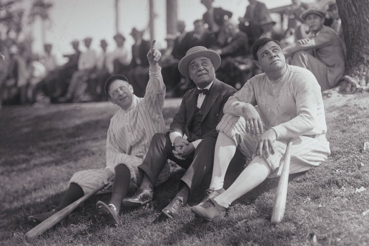 Babe Ruth with Miller Huggins and Jacob Ruppert