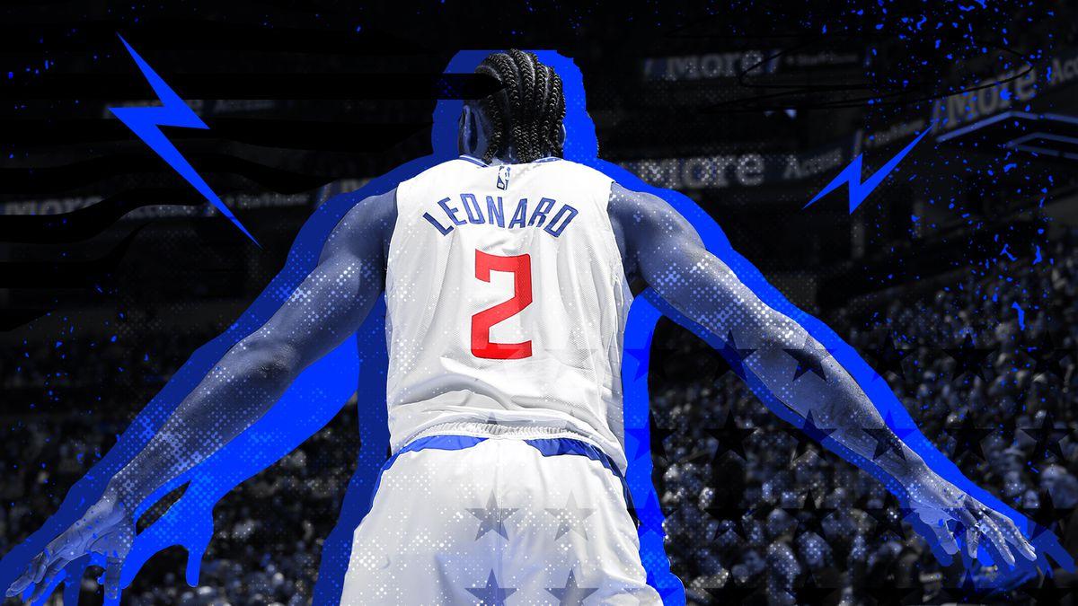 Kawhi Leonard with his back turned, playing defense.
