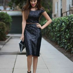 """Sazan of <a href=""""http://spazmag.com""""target=""""_blank"""">Spaz Mag</a> is wearing an Express <a href=""""http://www.express.com/clothing/sequin+embellished+cropped+tee/pro/6382387/cat1190025?CID=550&pubname=rewardStyle&pubID=4441350""""target=""""_blank""""> top</a> and"""
