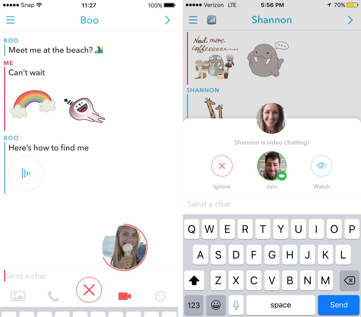 Snapchat redesigns chat to add stickers audio and video notes snapchat biocorpaavc Choice Image