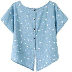 "<b>Romwe</b> Star Print Batwing T-Shirt, <a href=""http://www.romwe.com/romwe-stars-print-batwing-sleeves-midriff-blue-tshirt-p-85963.html?SASSource=cjunction"">$26</a>"