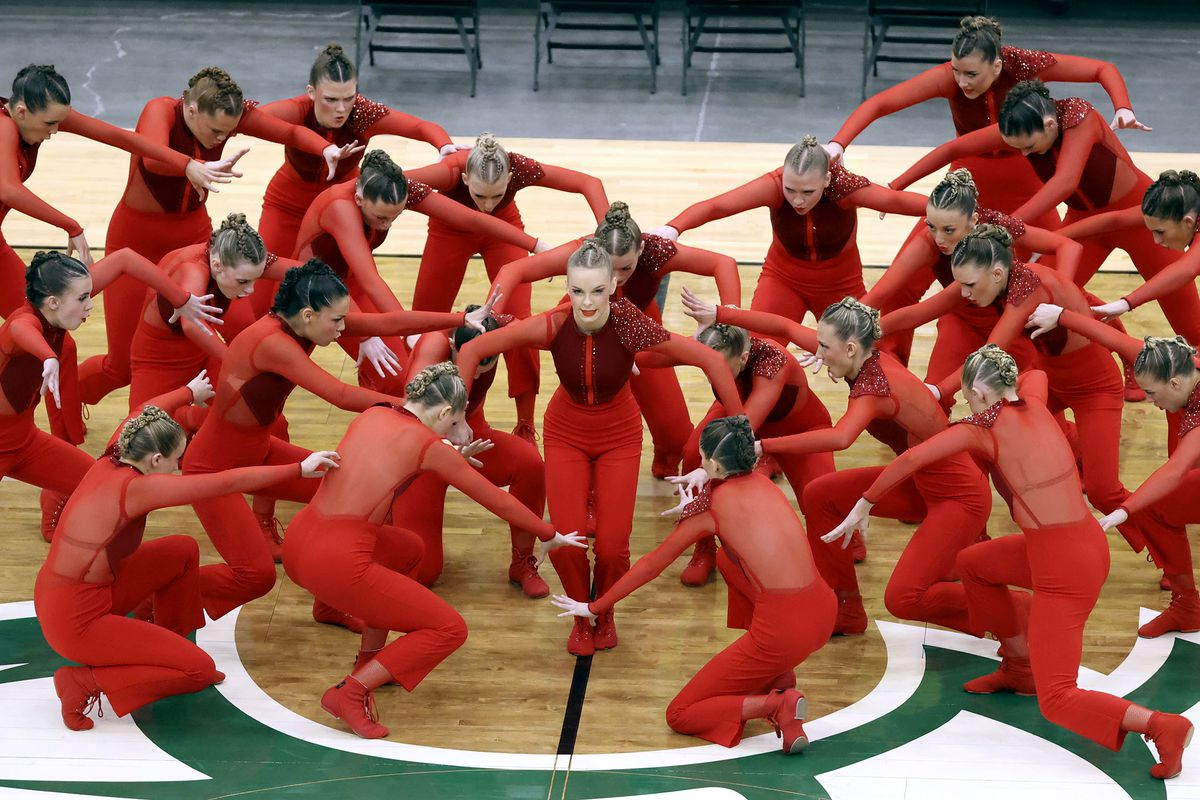 Farmington High School's drill team competes in the dance category of the 5A state finals at the UCCU Center in Orem on Thursday, Feb. 4, 2021. Other categories are military and show.