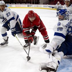 The Carolina Hurricanes lost to Tampa Bay in regulation, 4-2, in PNC Arena on Monday, Feb. 22, 2021.