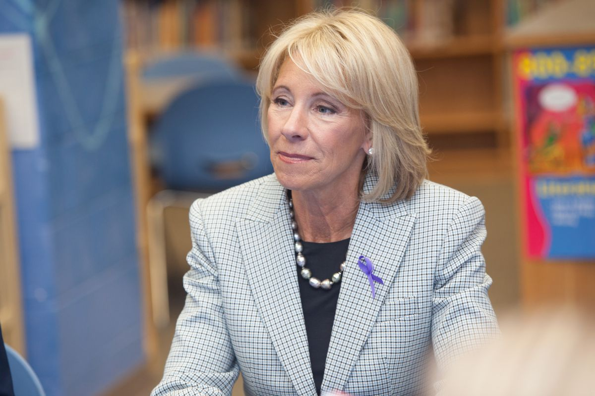 U.S. Secretary of Education Betsy DeVos is reportedly weighing whether to allow schools to pay for guns using federal money.