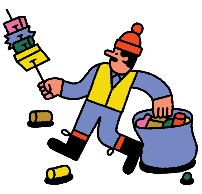 A person picks up garbage with a trash picker tool. This is an illustration.
