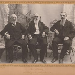 The First Presidency of The Church of Jesus Christ of Latter-day Saints, circa 1898-1901: left to right, first counselor George Q. Cannon, President Lorenzo Snow, second counselor Joseph F. Smith.