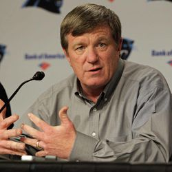 Carolina Panthers general manager Marty Hurney answers a question during a pre-draft news conference for the NFL football team in Charlotte, N.C., Thursday, April 19, 2012.