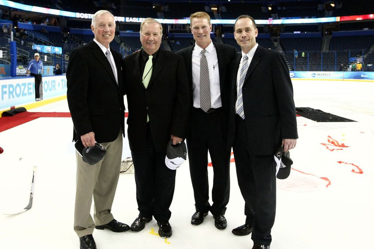 Mike Cavanaugh (far right) posing with the BC coaching staff after the Eagles won the 2012 NCAA Championship in Tampa, Fla.