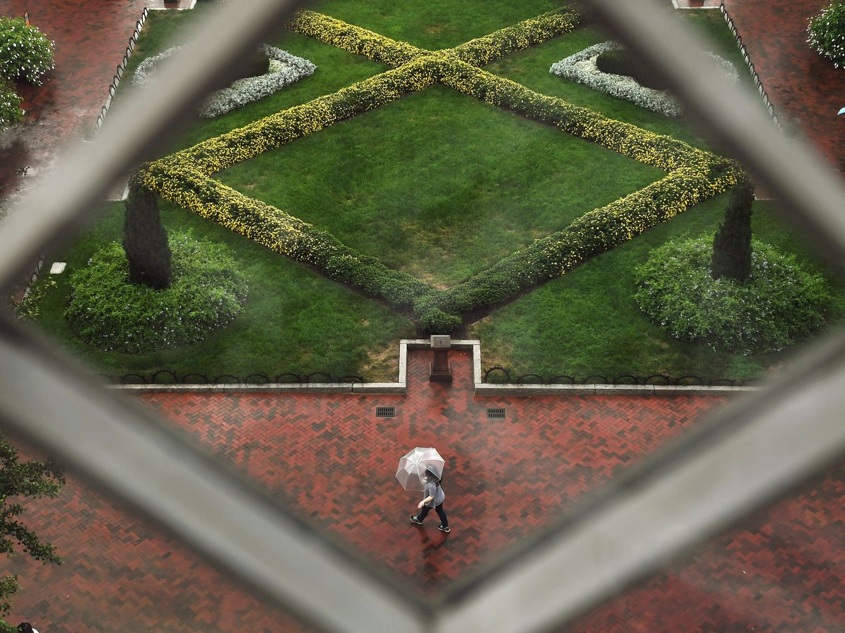 The Enid A. Haupt Garden viewed from above. It has landscaped hedges.