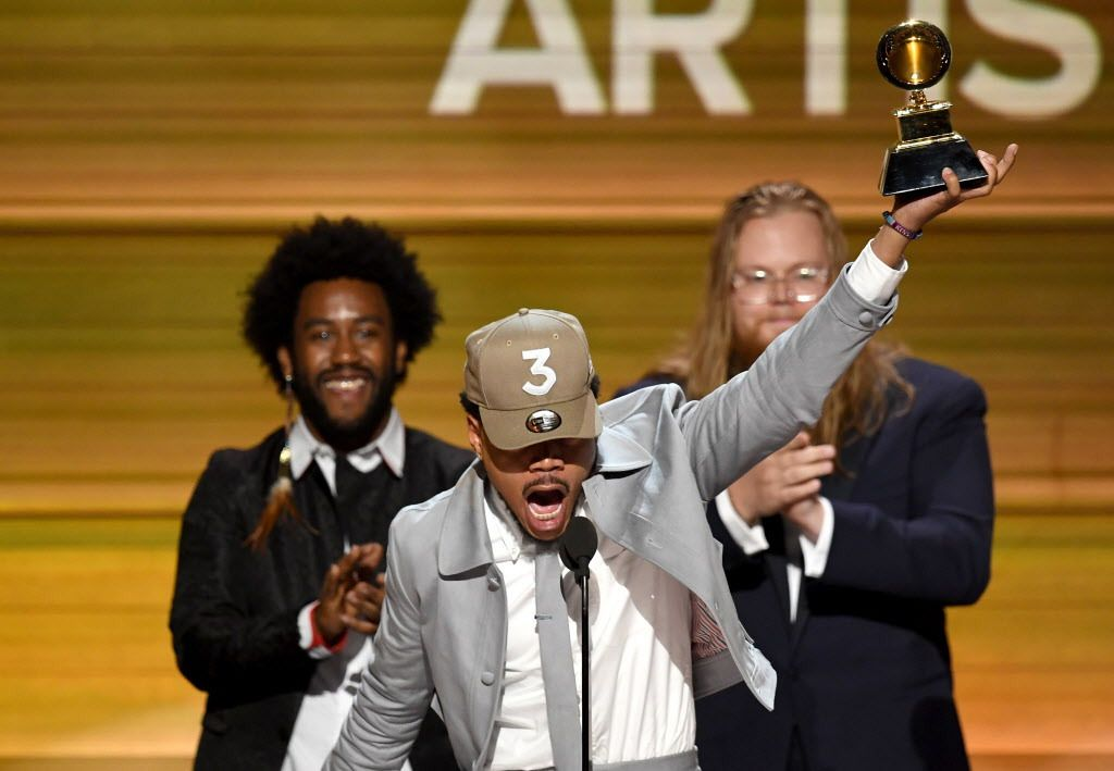Chance the Rapper accepts the Best New Artist artist award onstage during The 59th GRAMMY Awards at STAPLES Center on February 12, 2017 in Los Angeles, California.  (Photo by Kevin Winter/Getty Images for NARAS)
