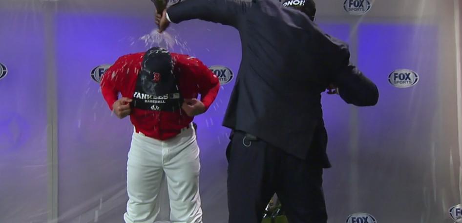 hot sale online 8989a e2e87 Watch David Ortiz spray champagne at Alex Rodriguez in a Red ...