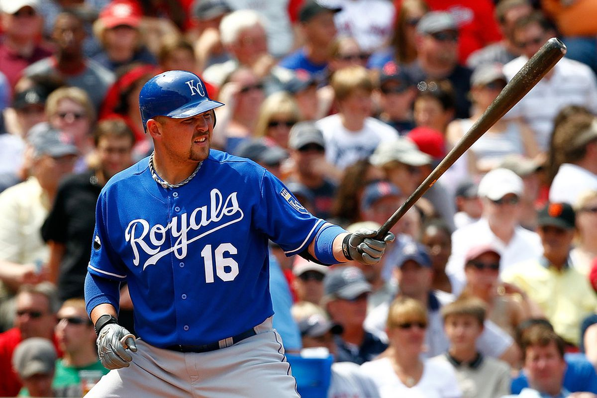BOSTON, MA  - JULY 28:  Billy Butler #16 of the Kansas City Royals bats against the Boston Red Sox at Fenway Park on July 28, 2011 in Boston, Massachusetts.  (Photo by Jim Rogash/Getty Images)