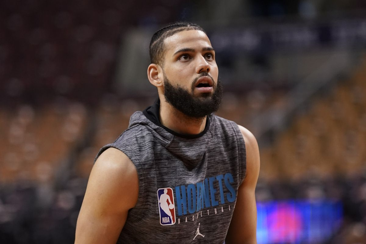 Charlotte Hornets forward Cody Martin during warm up before a game against the Toronto Raptors at Scotiabank Arena.