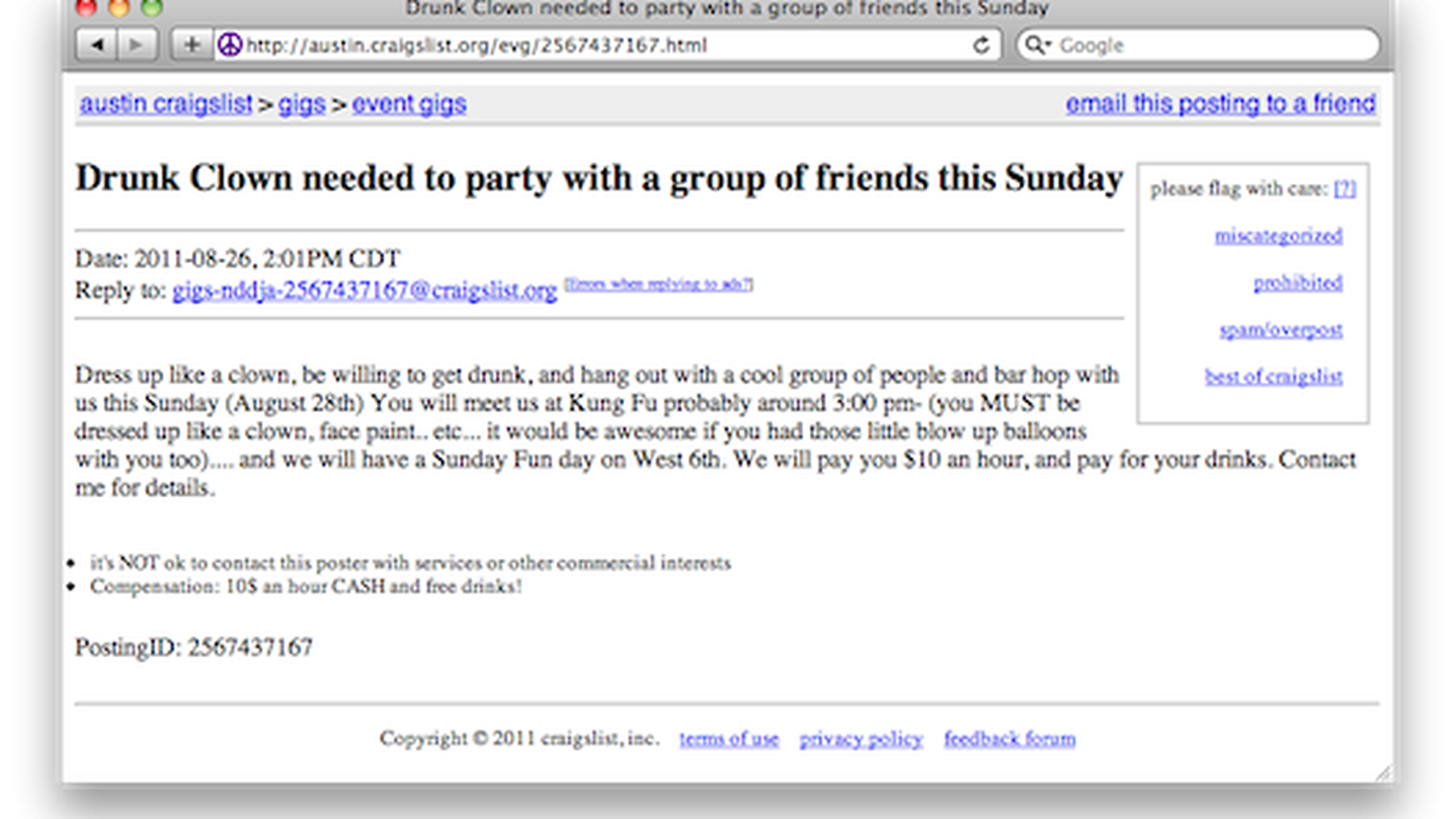 Craigslist Ad Seeks Drunk Clown For $10 an Hour 'to Party