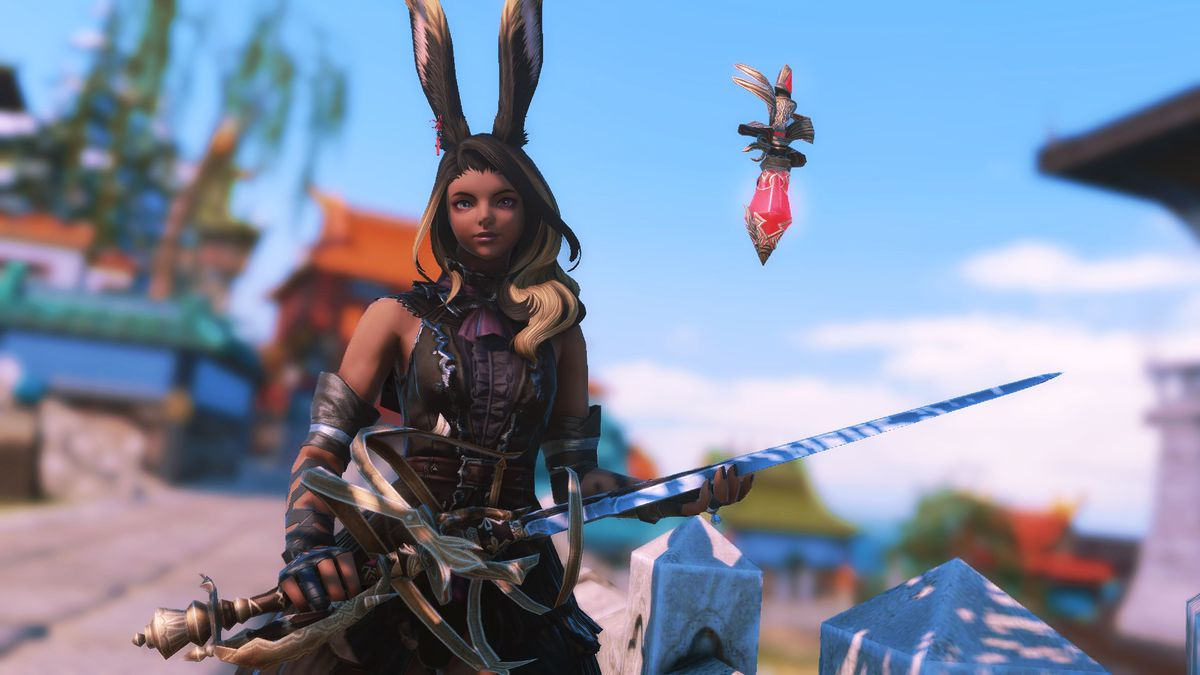 A Viera wearing black holds a Law's Order Rapier