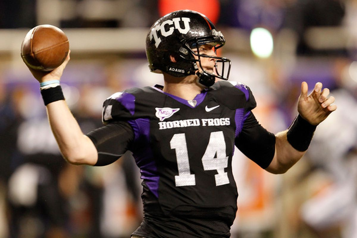 FORT WORTH TX - OCTOBER 23:  Quarterback Andy Dalton #14 of the TCU Horned Frogs passes the ball against the Air Force Falcons at Amon G. Carter Stadium on October 23 2010 in Fort Worth Texas.  (Photo by Tom Pennington/Getty Images)