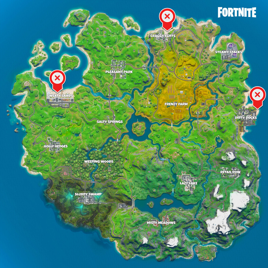 A Fortnite map with the locations of Sweaty Sands, Dirty Docks, and Craggy Cliffs marked for the Fireworks challenge