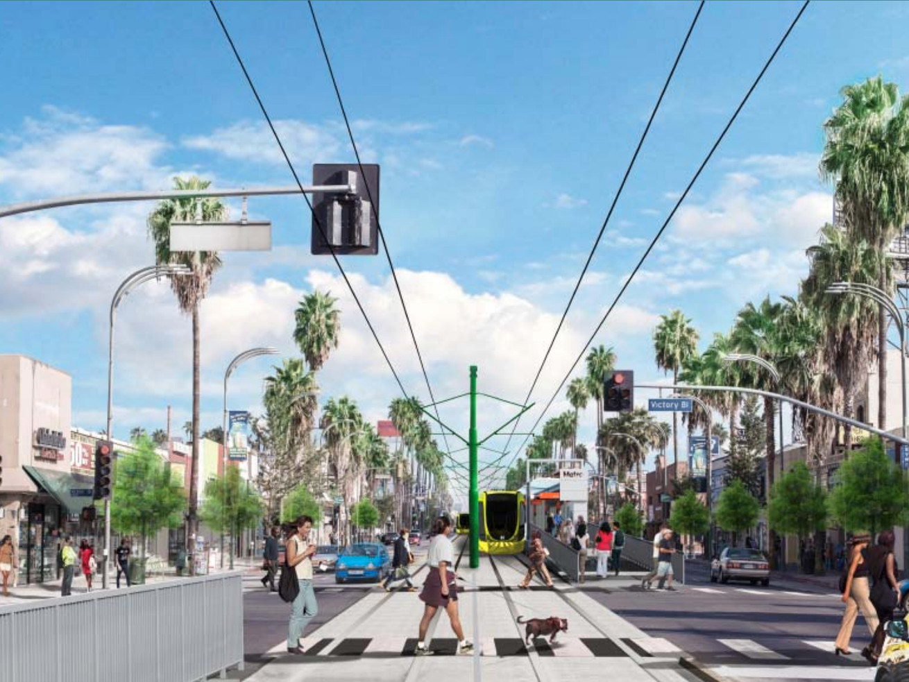 A rendering of what a light rail transit station at Van Nuys and Victory would look like.