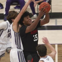 Action in the Bountiful and Lehi basketball game at Lehi High School on Friday, Dec. 11, 2020.