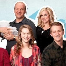 """The Duncan family in the Disney Channel show """"Good Luck Charlie"""" includes Bob (holding Toby at left in back row), Amy, Gabe, Teddy, PJ and Charlie."""