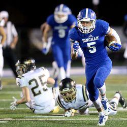 20170930 Bingham's Dax Milne runs for a touchdown during a football game against Lone Peak at Bingham High School in South Jordan, on Friday, Sept. 29, 2017. Bingham won 28-10.