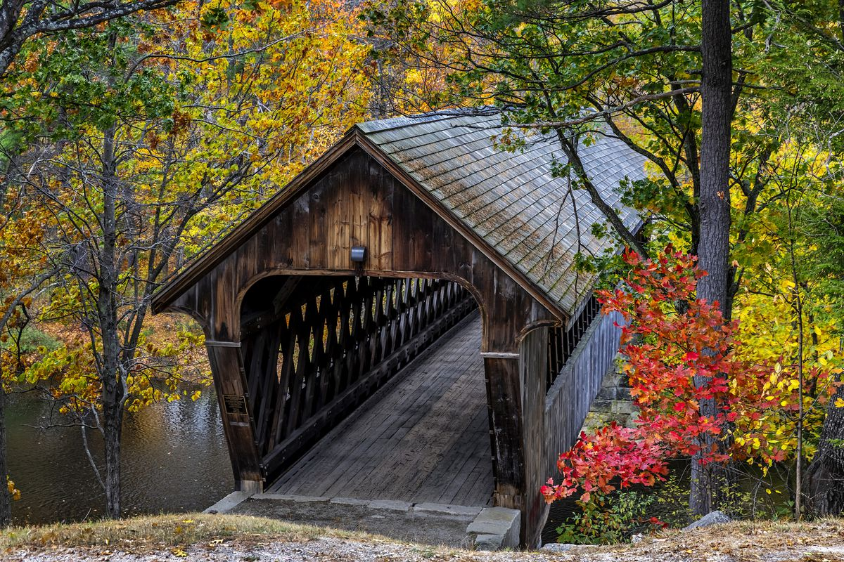 New England College Covered Bridge at Henniker in New Hampshire.