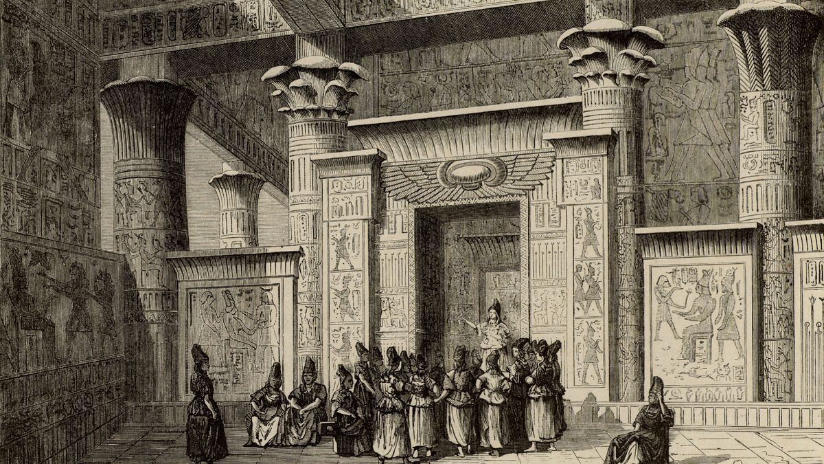 Pythagoras (6th century BC) Ancient Greek Philosopher and mathematician, with the Egyptian priests. Engraving fromVies des Savants Illustres by Louis Figuier (Paris 1866). ...