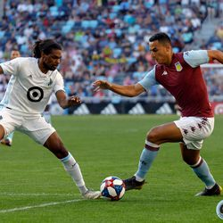 July 17, 2019 - Saint Paul, Minnesota, United States - Minnesota United defender Carter Manley (2) marks Aston Villa FC midfielder Anwar El Ghazi (21) during an international friendly match at Allianz Field.