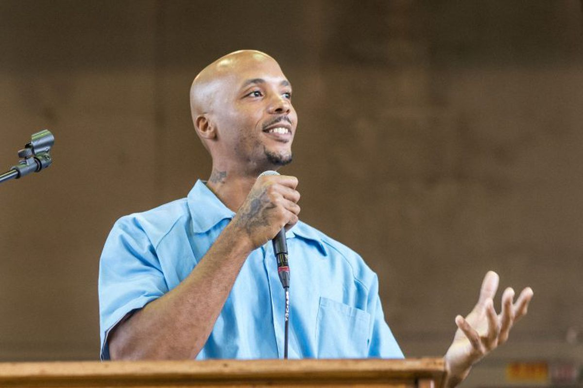 Michael Simmons spoke at a convocation for North Park University's School of Restorative Arts inside Stateville Correctional Center in 2019. He is serving a prison term until 2052 for a murder he committed in 2001.