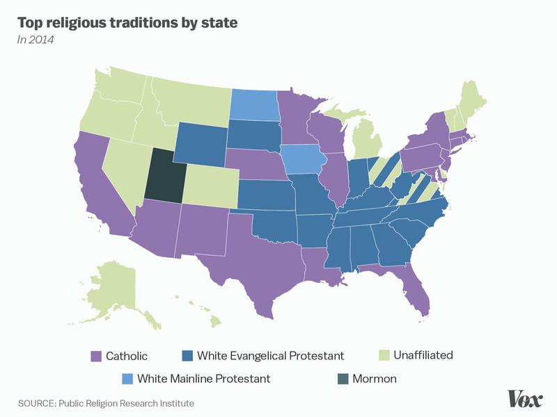One Nation Under God Mapped Vox - Religion map