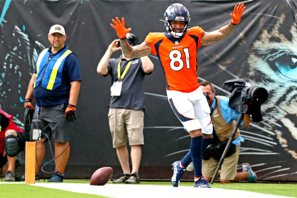 Broncos wide receiver Tim Patrick (81) celebrates after scoring a touchdown during the second quarter against the Jacksonville Jaguars at TIAA Bank Field.