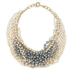 """Bauble Bar, <a href= """"http://baublebar.com/index.php/fashion-jewelry/jewelry-necklaces/pearl-mesh-bib.html?ecid=pepperjam%20text&utm_source=pepperjam&utm_medium=affiliate&campaign=text&utm_content=generic&utm_term=44675""""> Pearl Mesh Bib</a>, $68"""