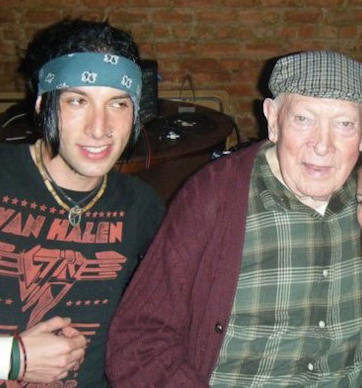 Malachy Towey (right) and his grandson, bass guitarist Martin Saldana of the band Better Than Nothing.