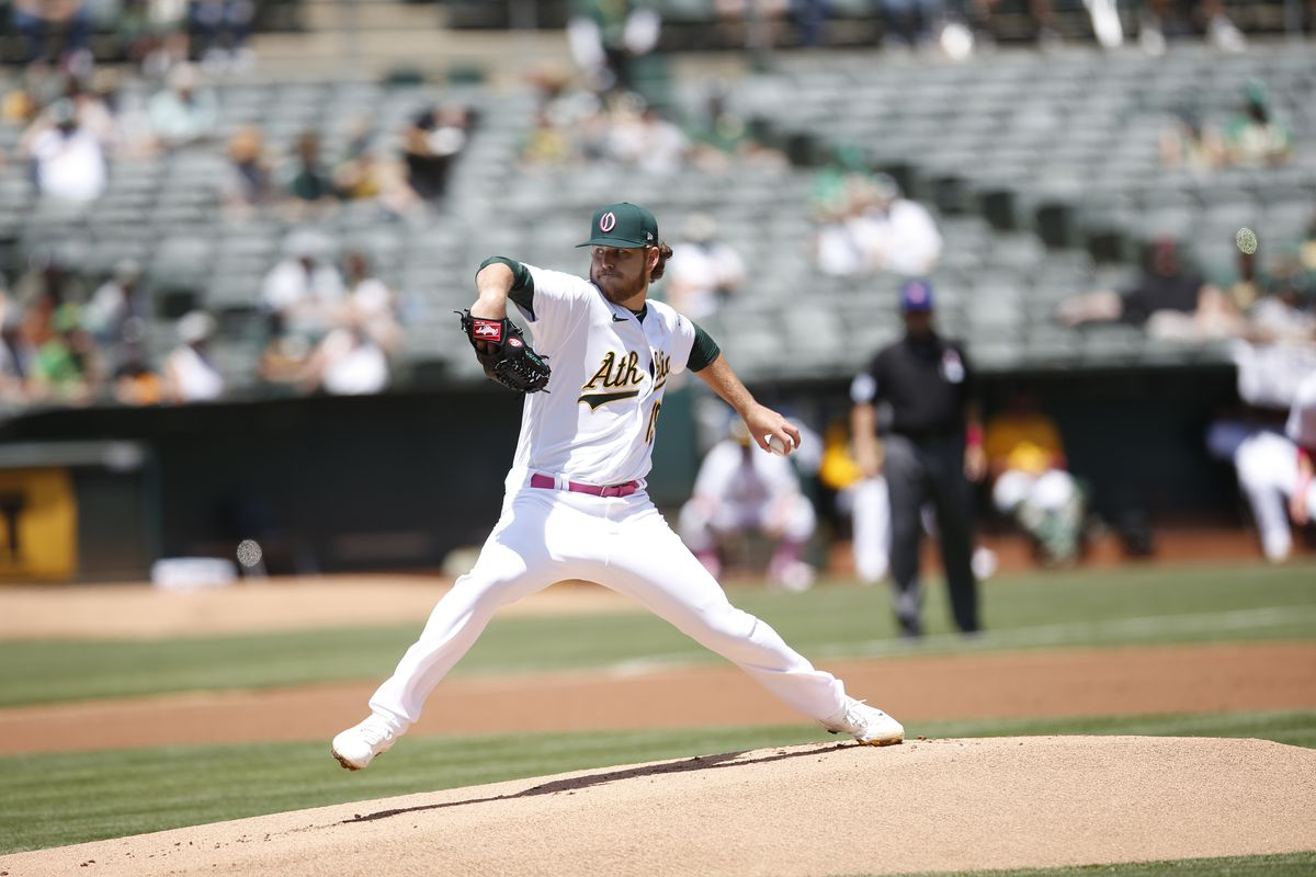 Cole Irvin #19 of the Oakland Athletics pitches during the game against the Tampa Bay Rays at RingCentral Coliseum on May 9, 2021 in Oakland, California. The Rays defeated the Athletics 4-3.