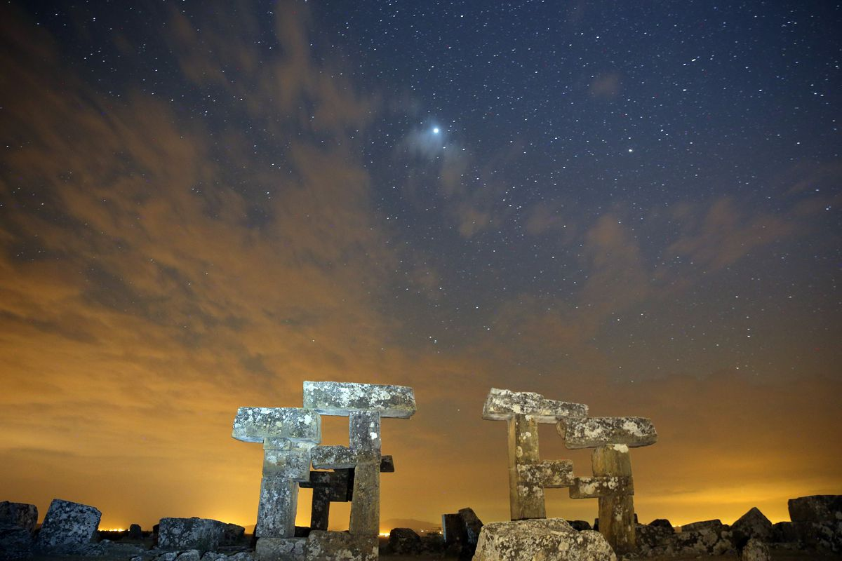 Starry night sky in Blaundus Ancient City in Turkey