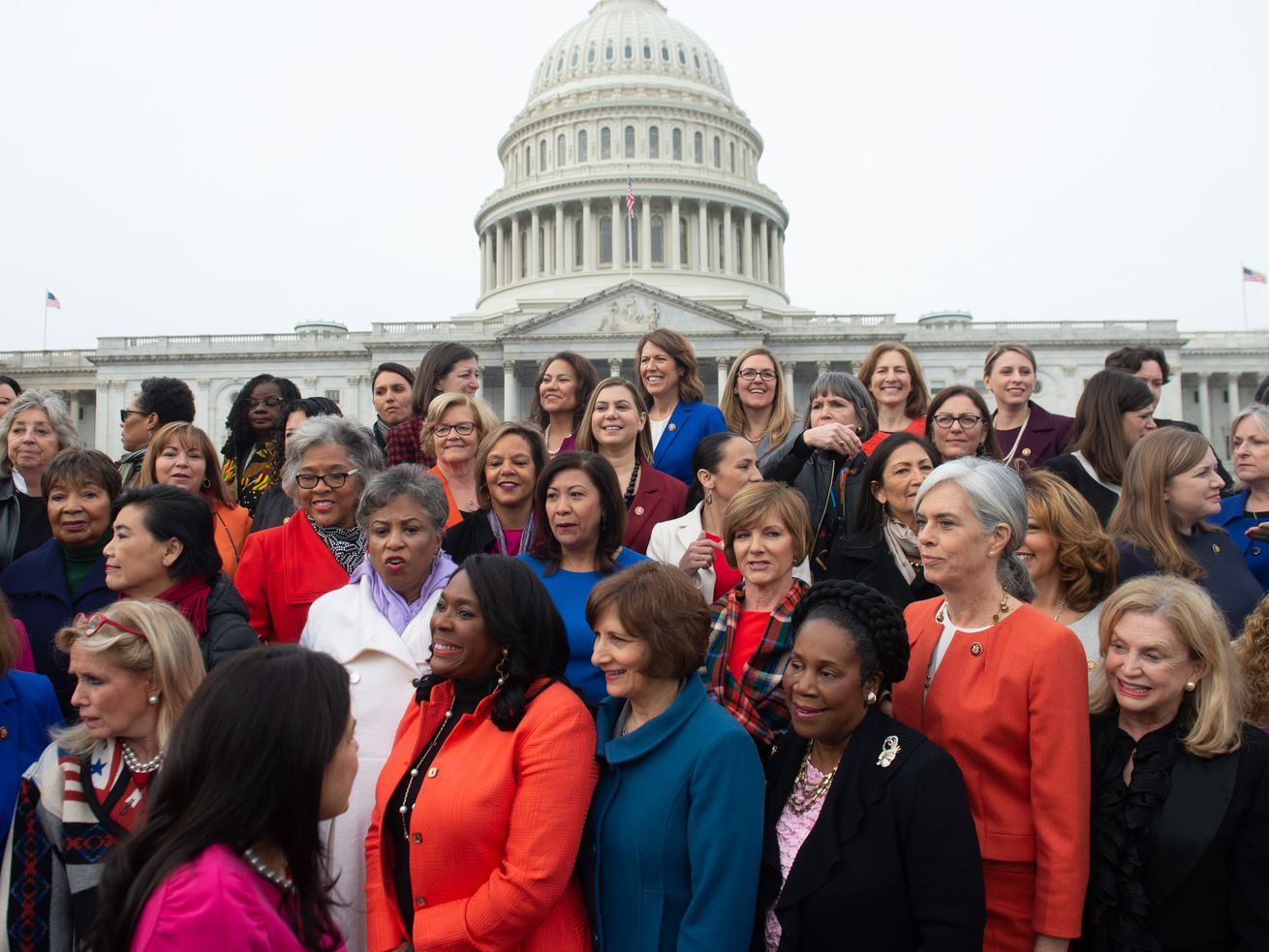 Female House Democratic members of the 116th Congress prepare for a photo opportunity outside the US Capitol in Washington, DC, January 4, 2019.