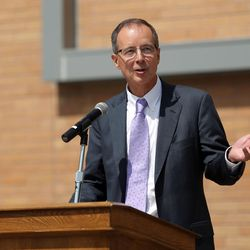 Chuck Wight, president of Weber State University, speaks during the ribbon-cutting ceremony for the new Tracy Hall Science Center at Weber State University in Ogden on Wednesday, Aug. 24, 2016.