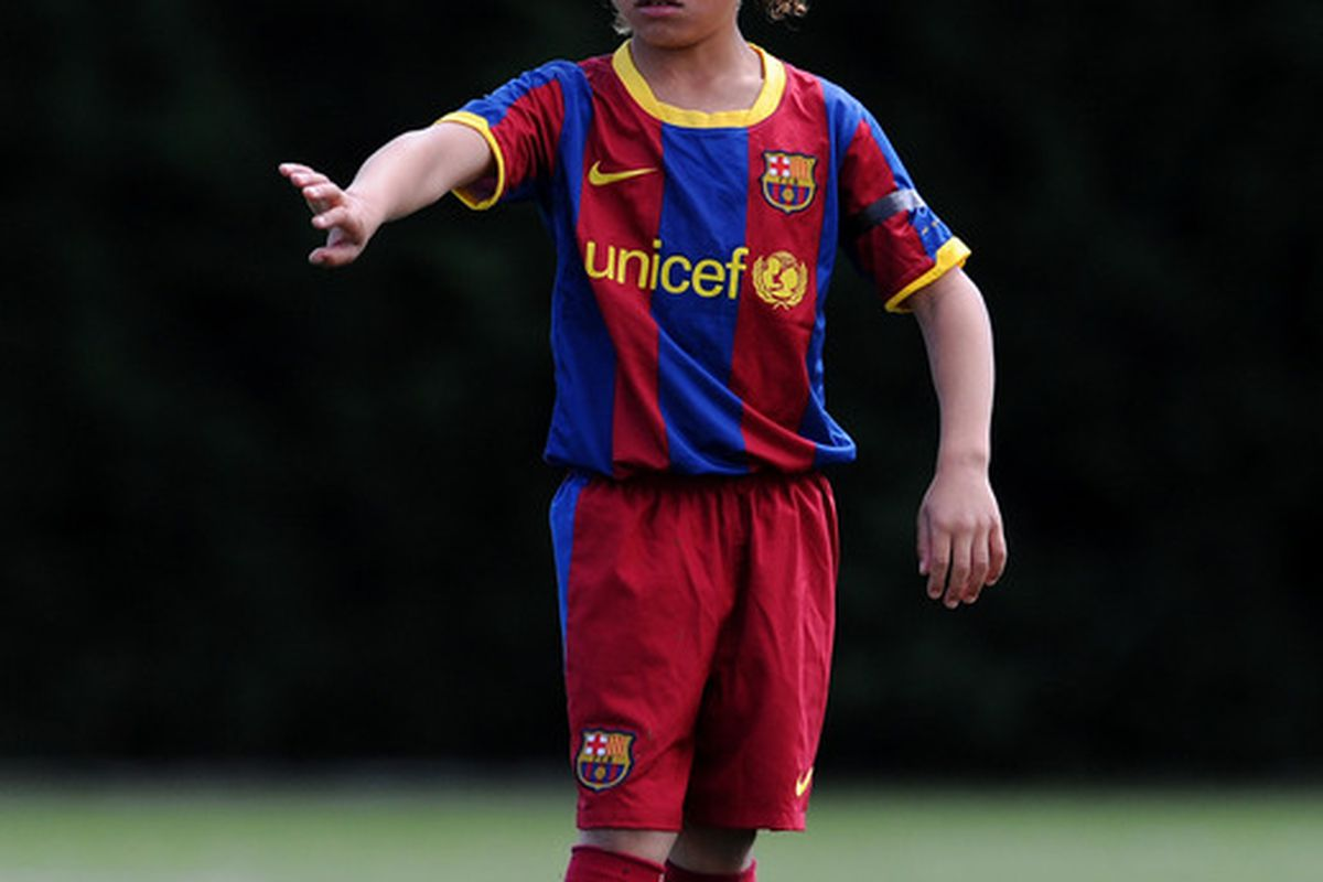 BARCELONA, SPAIN - MAY 15:  Eight-year-old Barcelona youth player Xavi Simons is possibly that Creative Attacking Midfielder that Colorado needs? (Photo by Jasper Juinen/Getty Images)