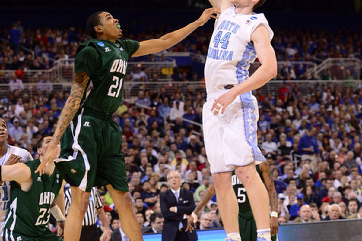 Tyler Zeller shoots the ball over Ohio Bobcats forward Jon Smith (21) during the second half of the semifinals in the midwest region of the 2012 NCAA men's basketball tournament.