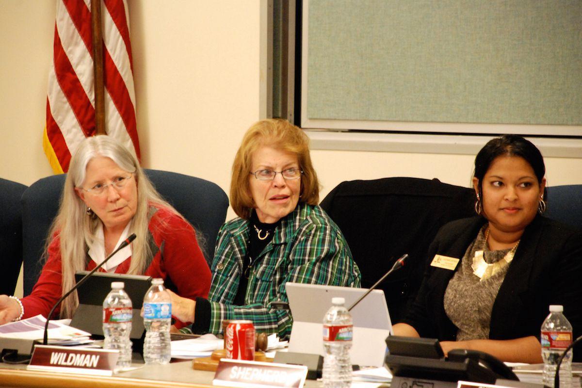 Aurora Public Schools board members Mary Lewis, left, Cathy Wildman, and JulieMarie Sheperd.