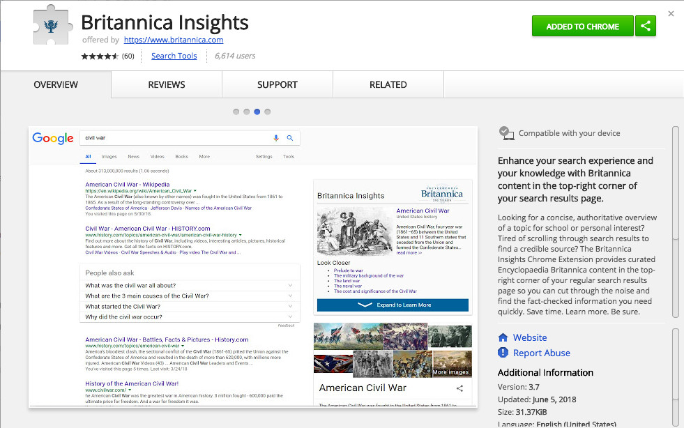 Encyclopedia Britannica's new Chrome extension is a simple