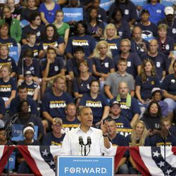 President Barack Obama speaks at a campaign event at Scott High School Monday, Sept. 3, 2012, in Toledo, Ohio.
